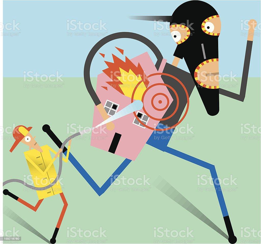 Fireman chases burglar/arsonist royalty-free stock vector art