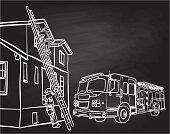 A fireman climbing a ladder into a house