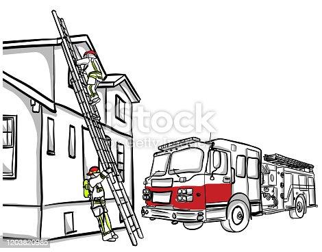 Fireman Climbing Ladder