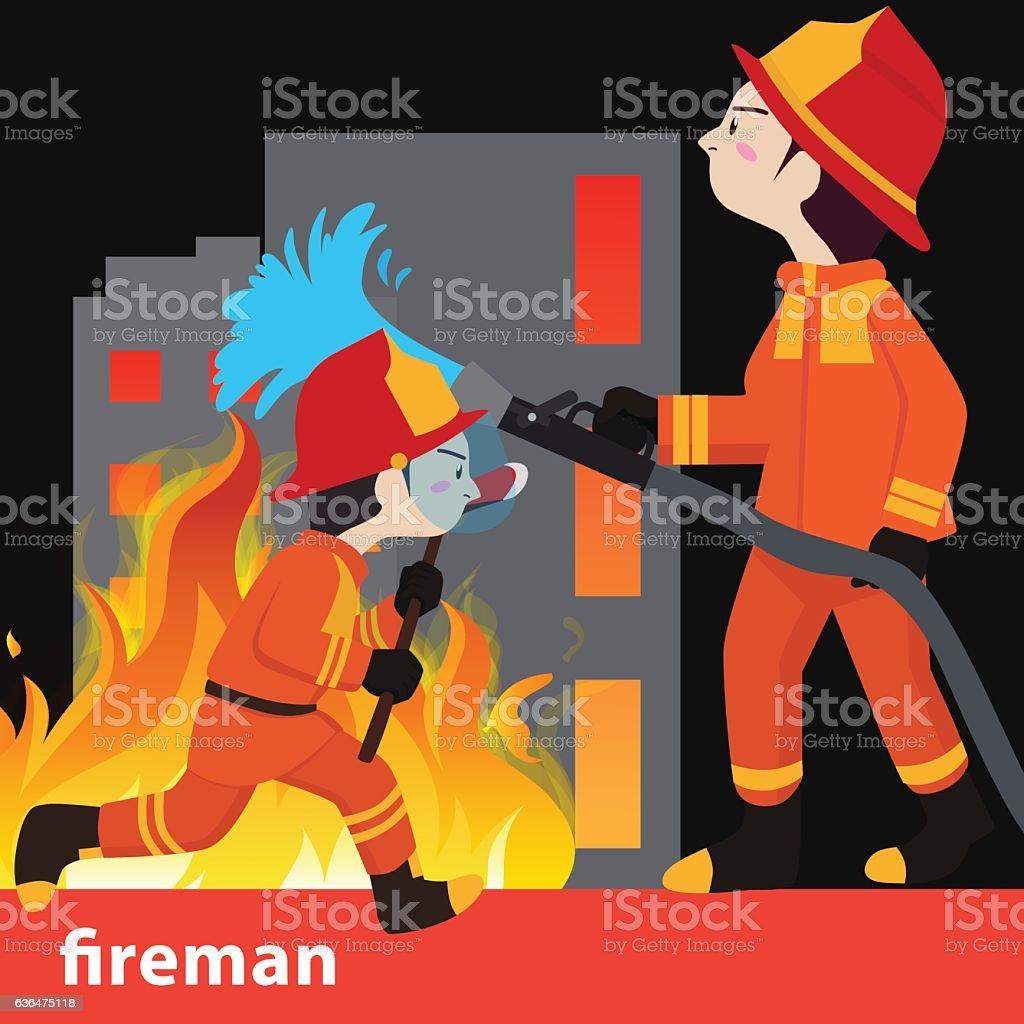 Fireman collection vector illustration - ilustración de arte vectorial