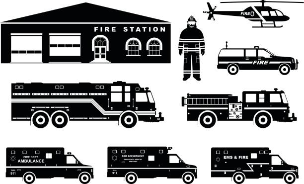 Fireman concept. Detailed illustration of firefighter, fire station building, firetruck and helicopter in flat style on white background. Vector illustration. Detailed illustration of fireman, fire station building, firetruck and helicopter in flat style on white background in flat style on white background. fire engine stock illustrations