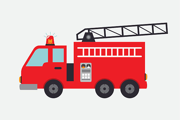fireman design fireman design over gray background, vector illustration fire engine stock illustrations