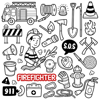 Fireman Doodle Illustration