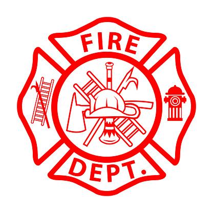"fireman emblem sign on white background. fire department symbol. firefighter""u2019s maltese cross. flat style."