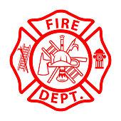"istock fireman emblem sign on white background. fire department symbol. firefighter""u2019s maltese cross. flat style. 1319465588"