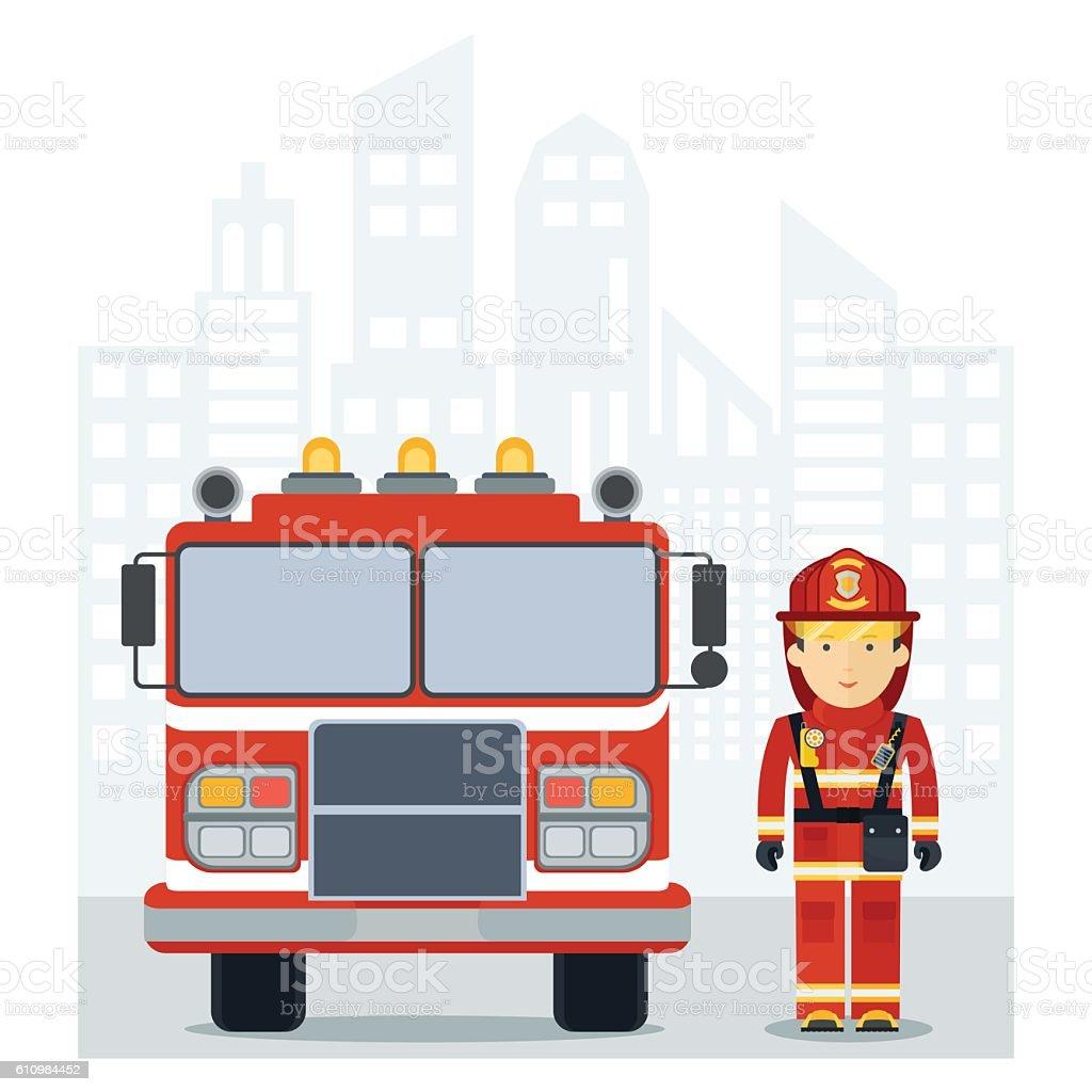 fireman fire track on city vector art illustration