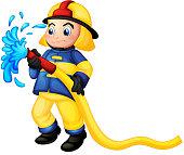 Fireman holding a yellow water hose