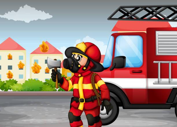 illustrations, cliparts, dessins animés et icônes de fireman'tenant une hache avec un camion à l'arrière - man axe wood