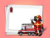 fireman holding  ax beside his fire truck