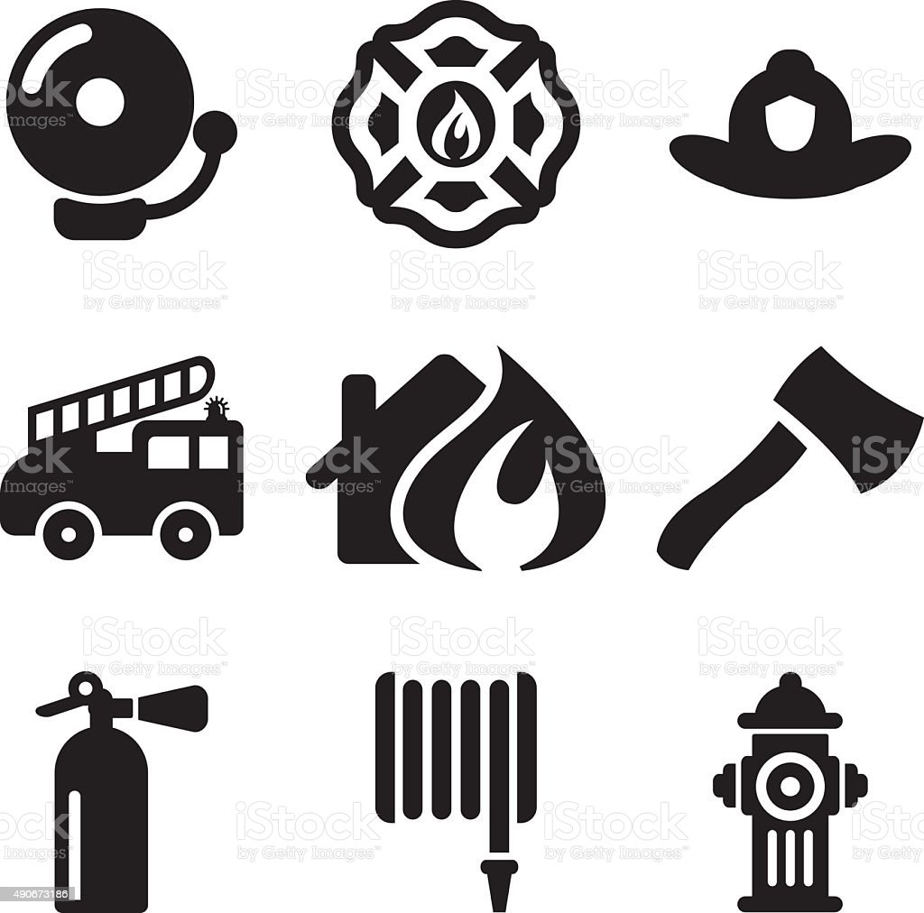 Fireman Icons vector art illustration