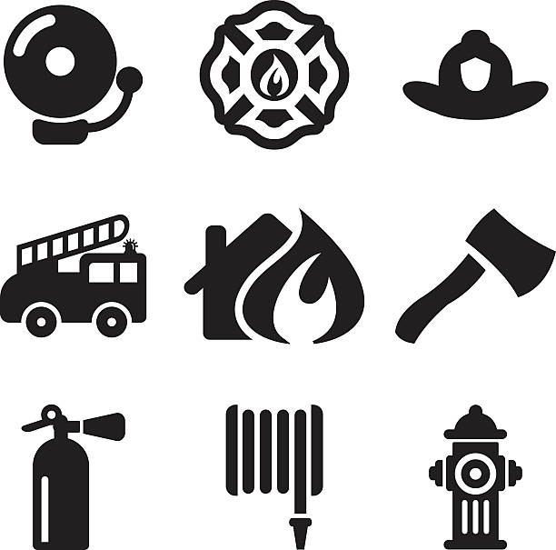 Fireman Icons This image is a vector illustration and can be scaled to any size without loss of resolution. fire hose stock illustrations