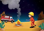 Fireman in the desert