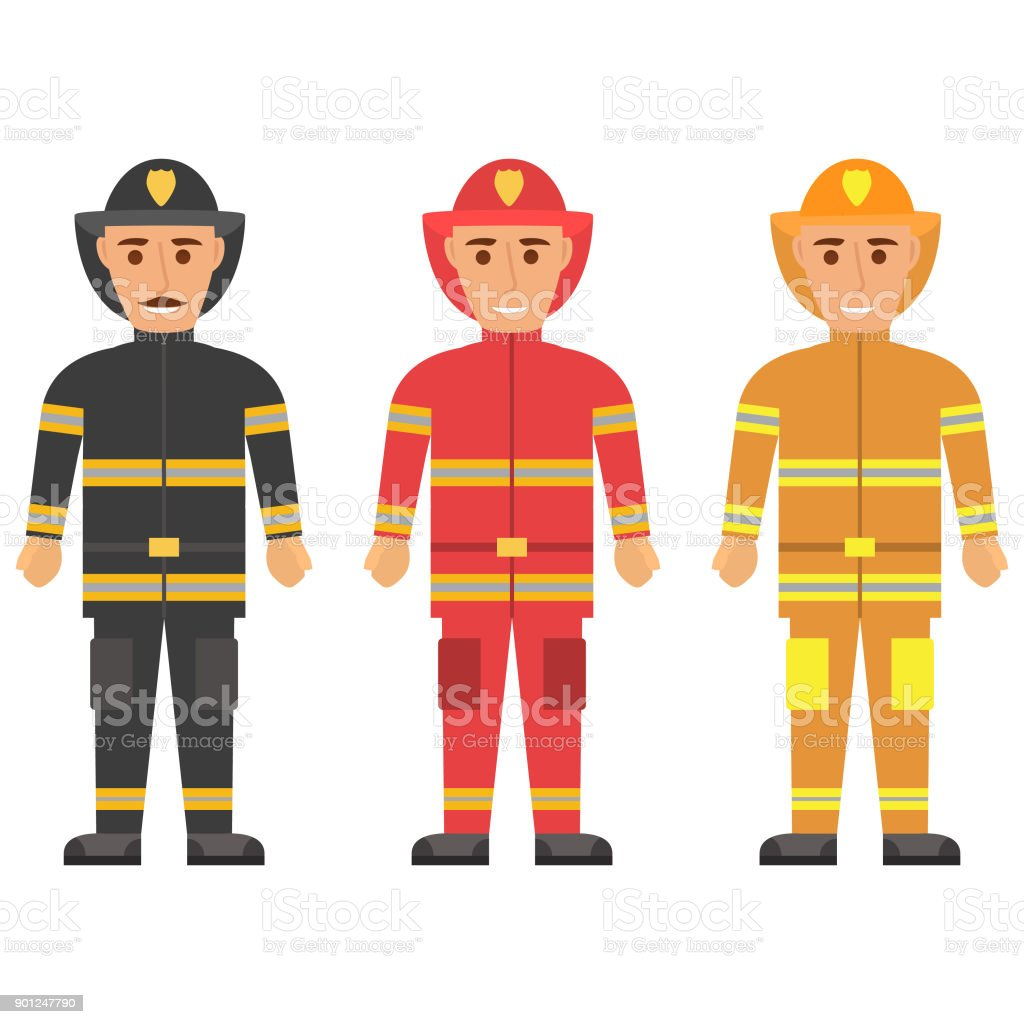 Fireman in uniform character set vector flat figures of rescue firefighter in safe helmet and uniform.The professional rescuer employees of the emergency service. vector art illustration