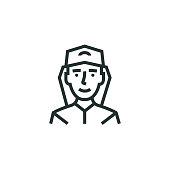 istock Fireman Line Icon 1302488696