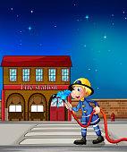 fireman near a fire station