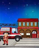 fireman near the fire station