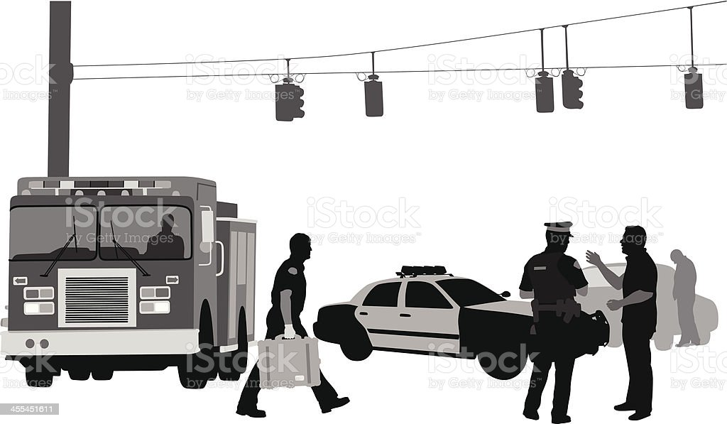 Fireman Police vector art illustration
