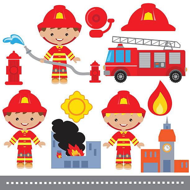 Fireman vector illustration Fireman vector illustration fire engine stock illustrations