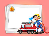 fireman with a water hose and truck