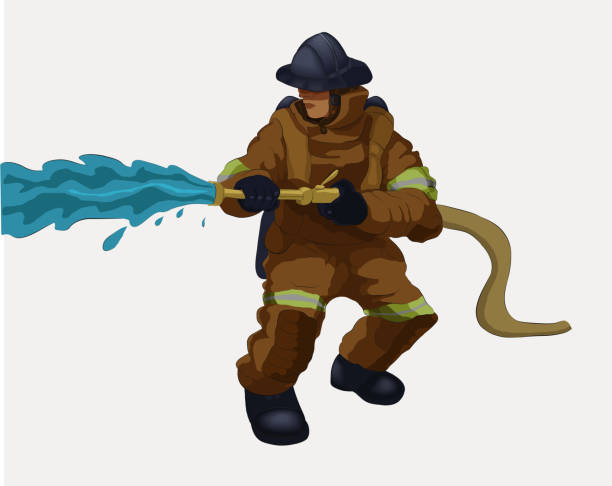 A fireman with a water hose Vector illustration shows a fireman  holding a water hose. fire hose stock illustrations