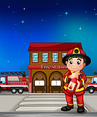 Fireman with an extinguisher