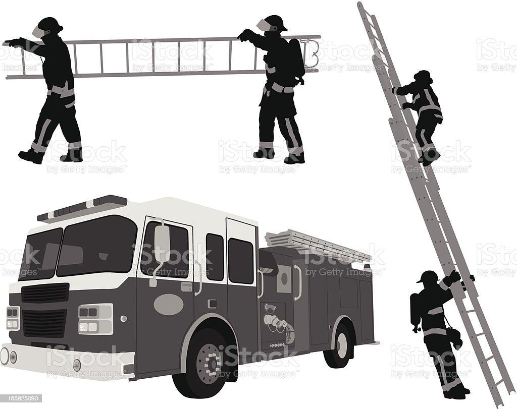 Fireman'n Ladders Vector Silhouette vector art illustration