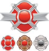 A vector illustration of variations of a fireman's cross emblem.