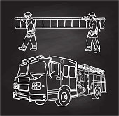 Two firemen carrying a ladder and a firetruck beneath them.
