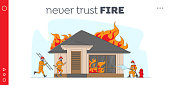 Firemen Fighting with Blaze at Burning House. Landing Page Template. Male Characters Team in Firefighters Uniform Extinguish with Big Fire, Carry Ladder and Water. Linear People Vector Illustration
