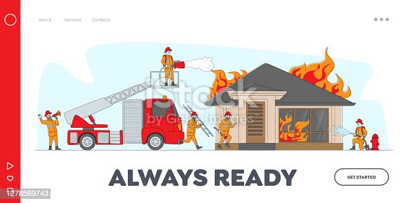 Firemen Fighting with Blaze Landing Page Template. Characters Spraying Water from Fire Fighter Truck Hose and Hydrant