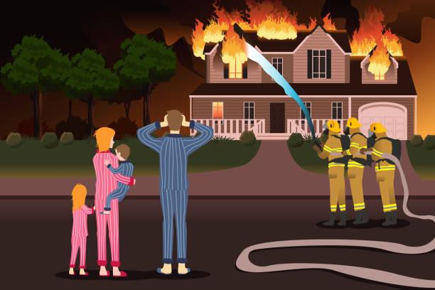 bildbanksillustrationer, clip art samt tecknat material och ikoner med brandmän släcka bränder av en brinnande hem - house after fire