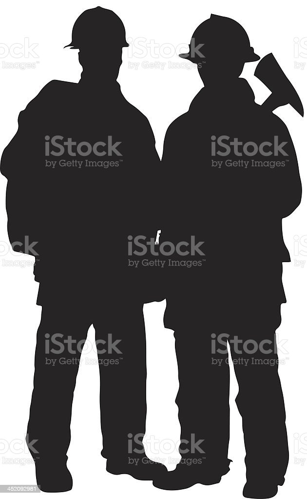 Firemen silhouette vector art illustration