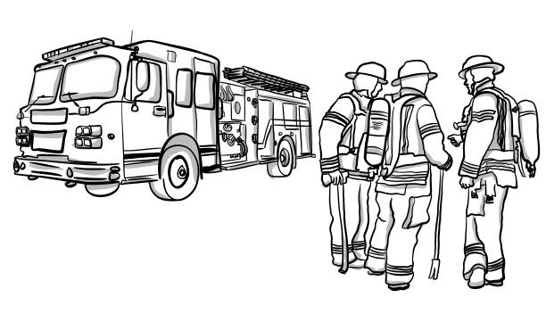 Best Vintage Fire Truck Illustrations, Royalty-Free Vector