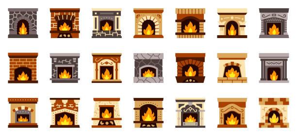 ilustrações de stock, clip art, desenhos animados e ícones de fireplace christmas fire flat icon vector set - braseiro