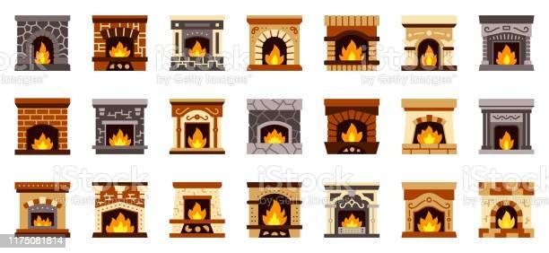 Open Haard Kerst Brand Plat Pictogram Vector Set Stockvectorkunst en meer beelden van Archiefbeelden