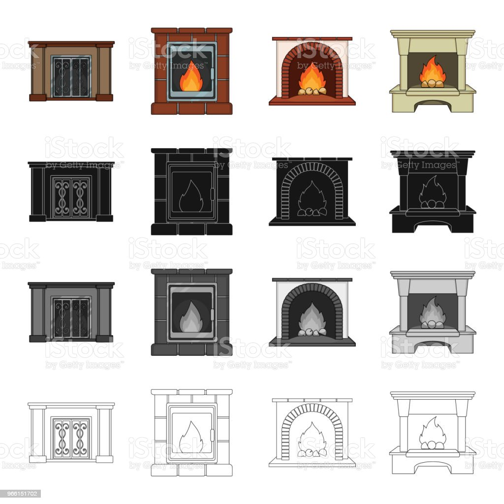 Fireplace, fire, warmth and comfort. Different kinds of fireplace set collection icons in cartoon black monochrome outline style vector symbol stock Isometric illustration web. - Векторная графика Без людей роялти-фри