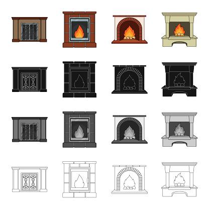 Fireplace Fire Warmth And Comfort Different Kinds Of Fireplace Set Collection Icons In Cartoon Black Monochrome Outline Style Vector Symbol Stock Isometric Illustration Web — стоковая векторная графика и другие изображения на тему Без людей
