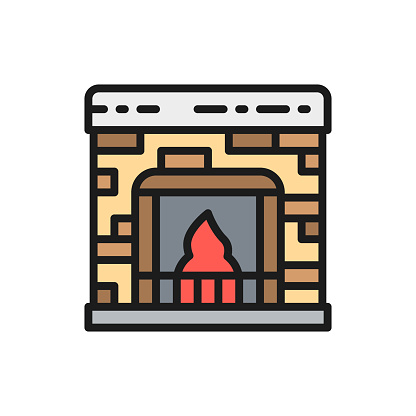 Fireplace flat color line icon.