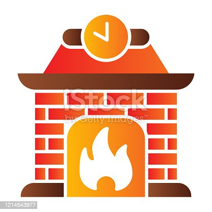istock Fireplace flat icon. Apartment decoration with fire and clock symbol, gradient style pictogram on white background. Christmas holiday sign for mobile concept and web design. Vector graphics. 1214543977