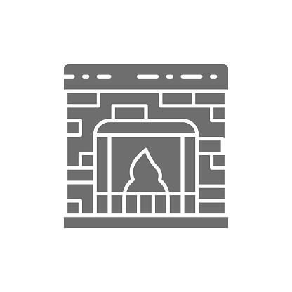 Fireplace grey icon. Isolated on white background