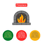 Fireplace Icon. Christmas decorations.
