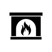 Fireplace icon, logo isolated on white background
