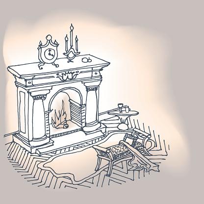 Fireplace Interior Classic - Arte vetorial de stock e mais imagens de Aconchegante