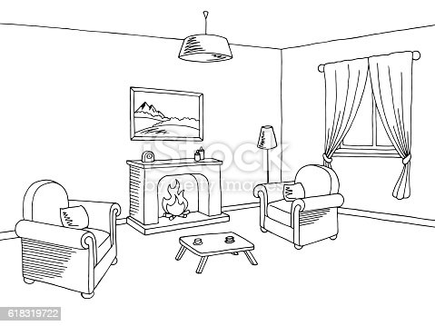 Fireplace Living Room Interior Graphic Black White Sketch