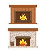 istock Fireplace Made of Bricks and Stones Interior Set 1281204515