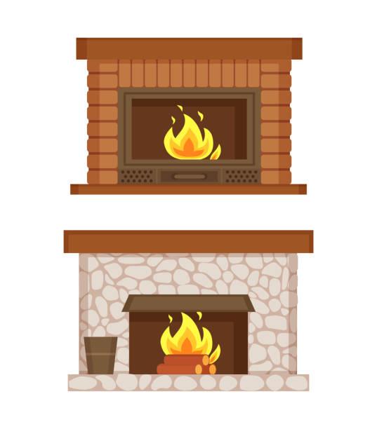 ilustrações de stock, clip art, desenhos animados e ícones de fireplace made of bricks and stones interior set - braseiro