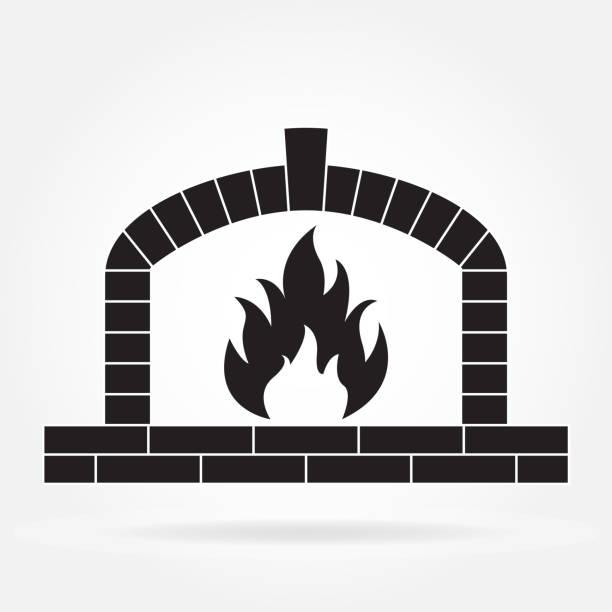 ilustrações de stock, clip art, desenhos animados e ícones de fireplace or firewood oven icon isolated on white background. vector illustration. - braseiro