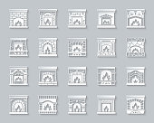 Fireplace paper cut art icons set. 3D sign christmas time kit. Open Fire pictogram collection chimney, retro stove, iron frame. Simple fireplace vector paper carved icon shape. Material design symbol