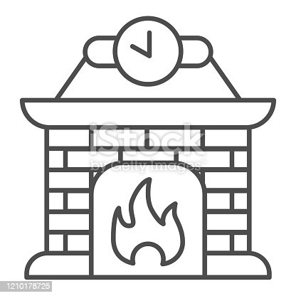istock Fireplace thin line icon. Apartment decoration with fire and clock symbol, outline style pictogram on white background. Christmas holiday sign for mobile concept and web design. Vector graphics. 1210178725