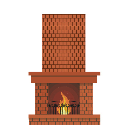 Fireplace. Winter holiday decoration isolated on white background. Vector flat style illustration.